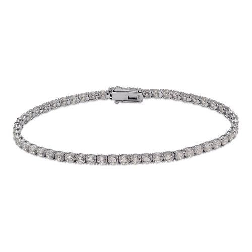 723-030W Round Pave Tennis White CZ Bracelet 3mm