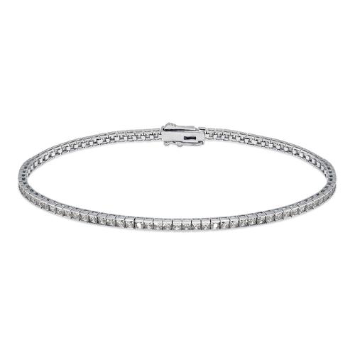 723-117W Channel Set Tennis White CZ Bracelet 1.75mm