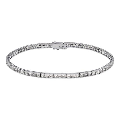 723-125W Channel Set Tennis White CZ Bracelet 2.5mm