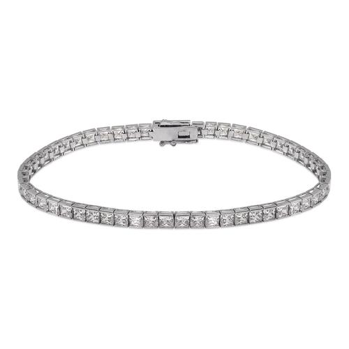 723-130W Channel Set Tennis White CZ Bracelet 3mm