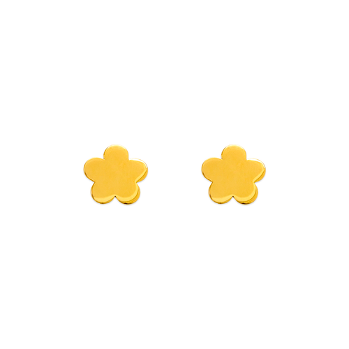 343-044 High Polished Flower Stud Earrings