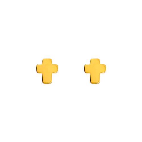 343-046 High Polished Cross Stud Earrings