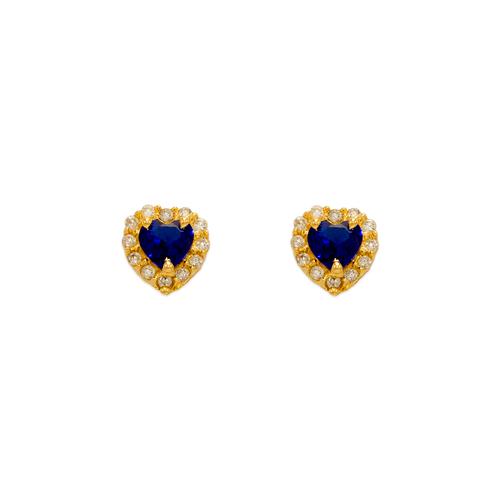 343-161BL Blue Heart CZ Stud Earrings