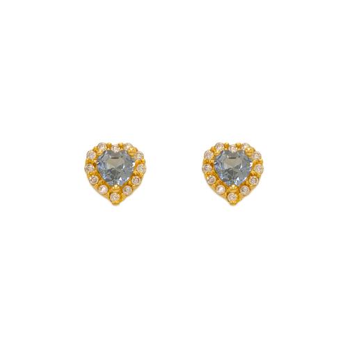 343-161LB Light Blue Heart CZ Stud Earrings