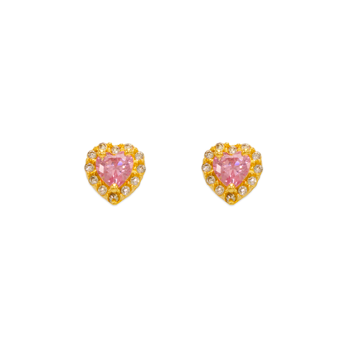 343-161PK Pink Heart CZ Stud Earrings