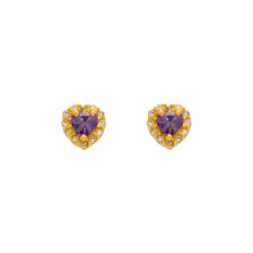 343-161PL Purple Heart CZ Stud Earrings