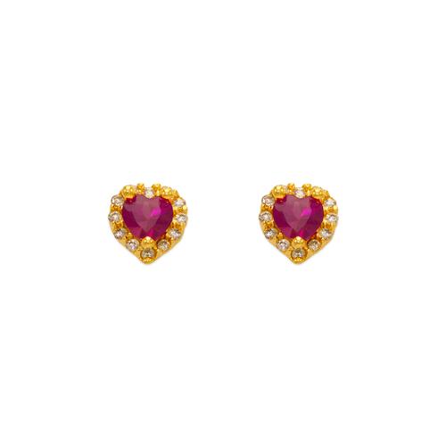 343-161RD Red Heart CZ Stud Earrings