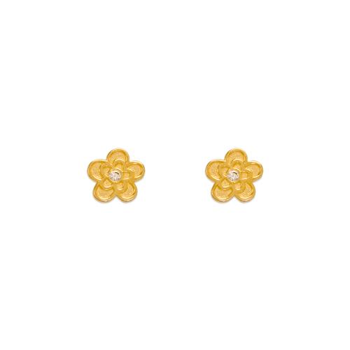 343-234 Flower CZ Stud Earrings