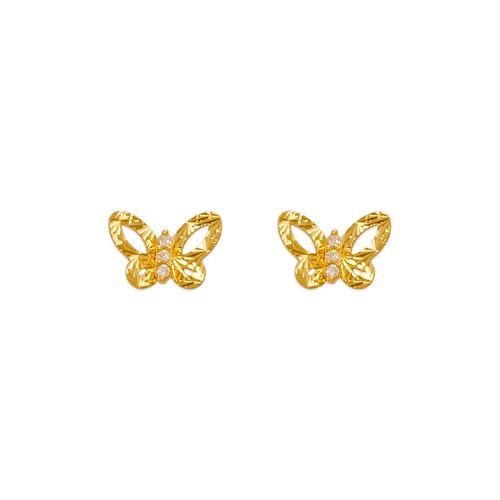 343-236 Diamond Cut Butterfly CZ Stud Earrings