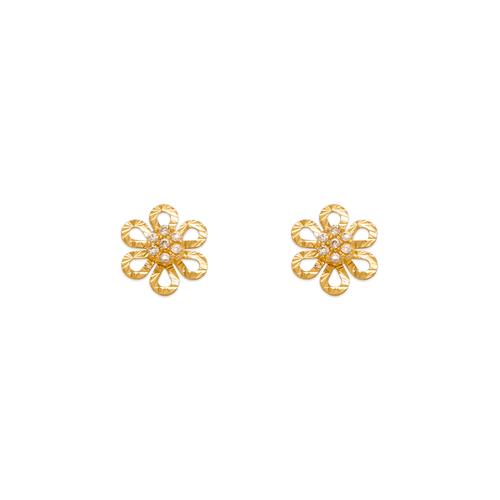343-237 Diamond Cut Flower CZ Stud Earrings