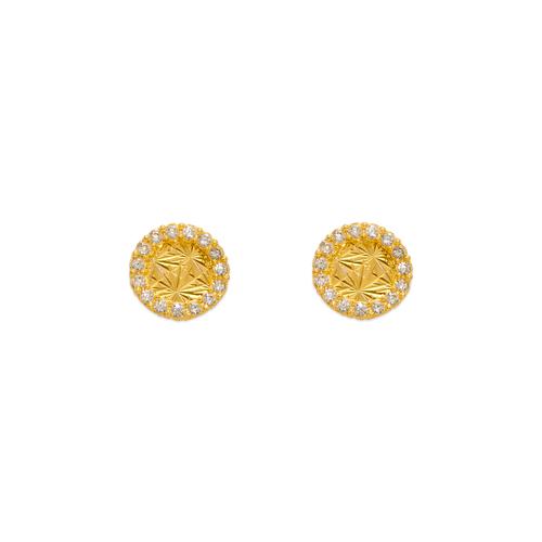 343-238 Diamond Cut Circle CZ Stud Earrings