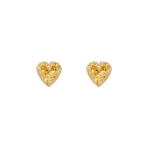 343-239 Diamond Cut Heart CZ Stud Earrings