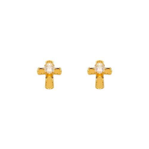 343-240 Diamond Cut Beveled Cross CZ Stud Earrings