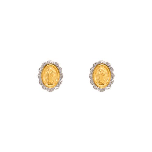 343-319 Diamond Cut Beveled Flower Guadalupe Stud Earrings