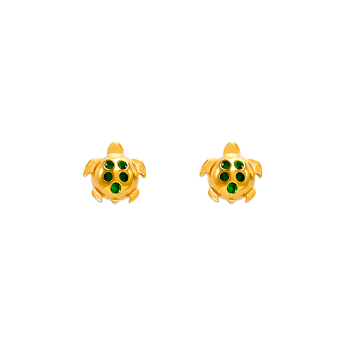 343-411GR Small Green Turtle CZ Stud Earrings