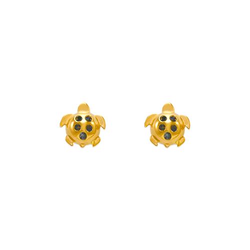 343-411LB Small Light Blue Turtle CZ Stud Earrings