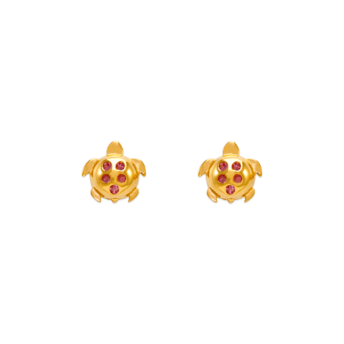 343-411PK Small Pink Turtle CZ Stud Earrings