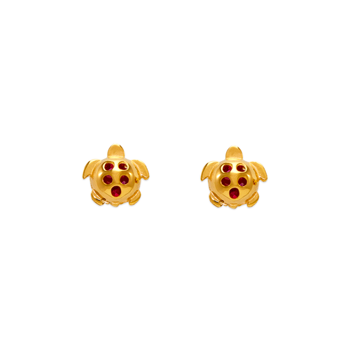 343-411RD Small Red Turtle CZ Stud Earrings