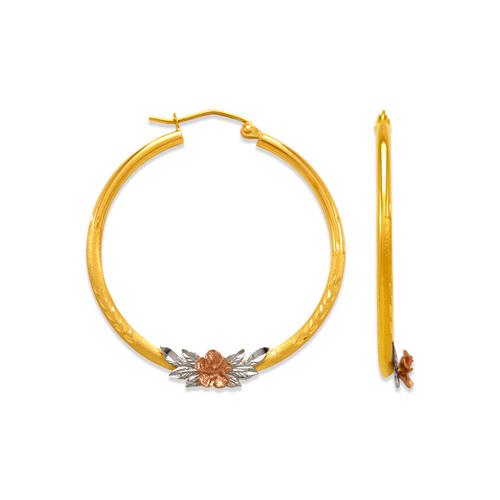 546-411TS 2mm Round Tube Flower Hoop Earrings