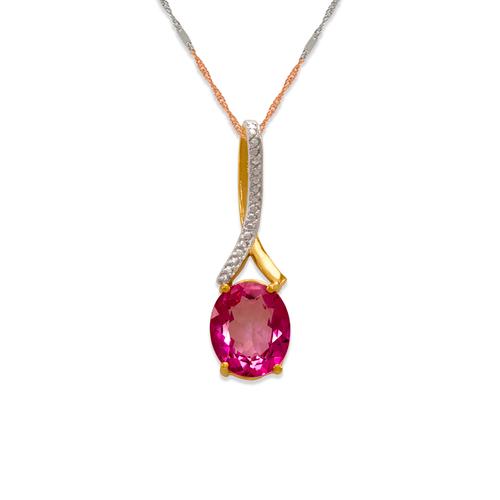 565-015A Pink Topaz CZ Pendant