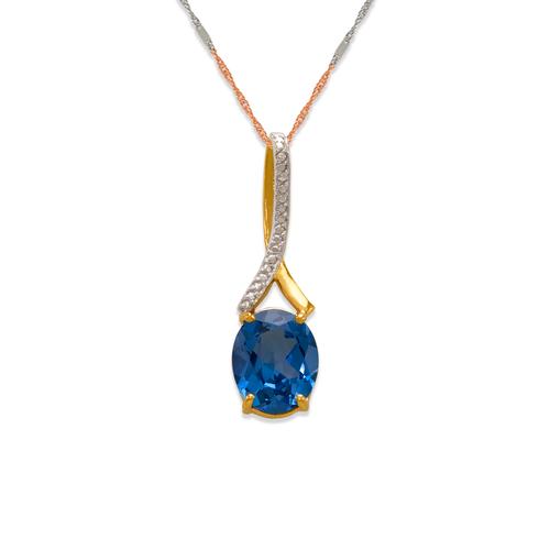 565-015B Sapphire Topaz CZ Pendant