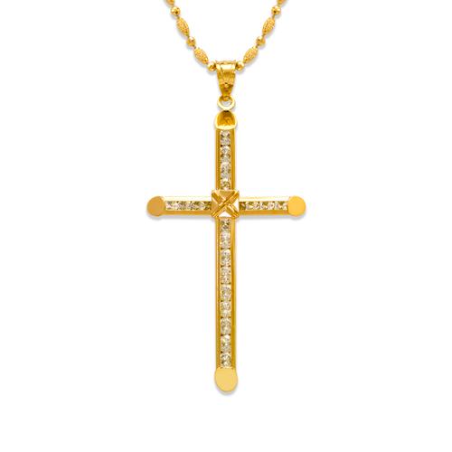563-104 60mm Eternity Cross CZ Pendant