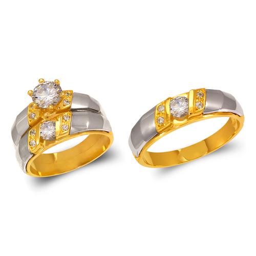 473-682ZS Two Tone Wedding Trio Ring Set