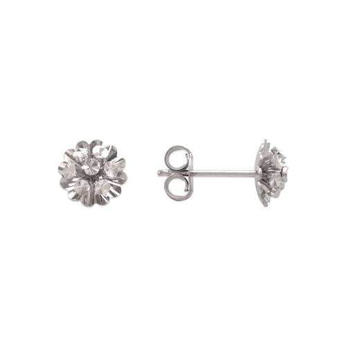 142-109W Small Diamond Cut Flower Stud Earrings