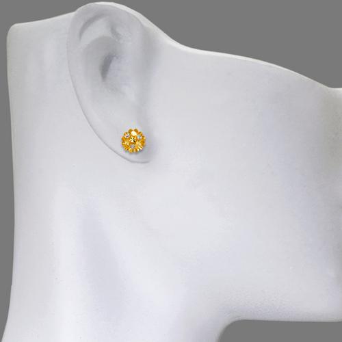 142-109Z Small Diamond Cut Flower Stud Earrings