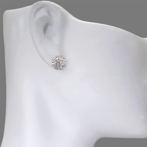 142-111W Diamond Cut Flower Stud Earrings