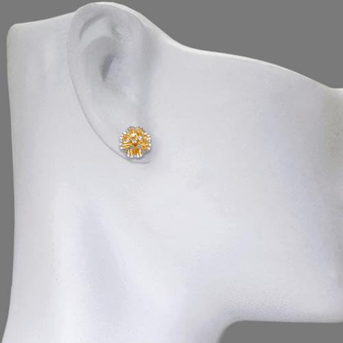 142-111Z Diamond Cut Flower Stud Earrings