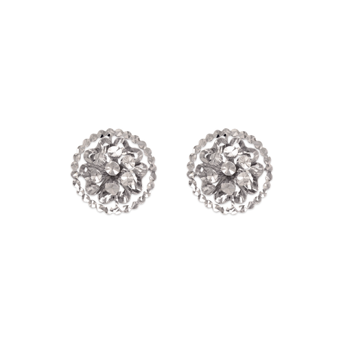 142-112W Diamond Cut Flower Stud Earrings