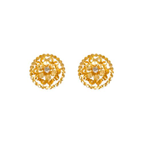 142-112Z Diamond Cut Flower Stud Earrings