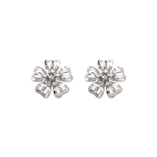 142-113W Diamond Cut Flower Stud Earrings