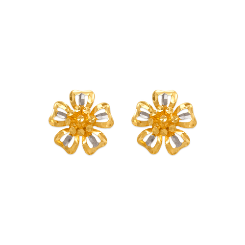 142-113Z Diamond Cut Flower Stud Earrings