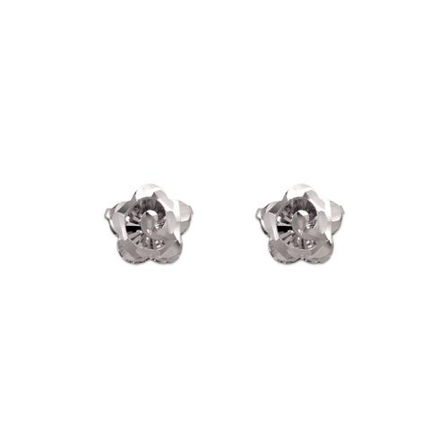 142-114W Diamond Cut Flower Stud Earrings