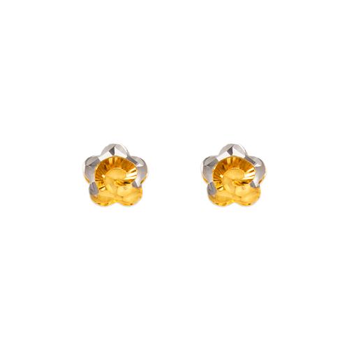 142-114Z Diamond Cut Flower Stud Earrings