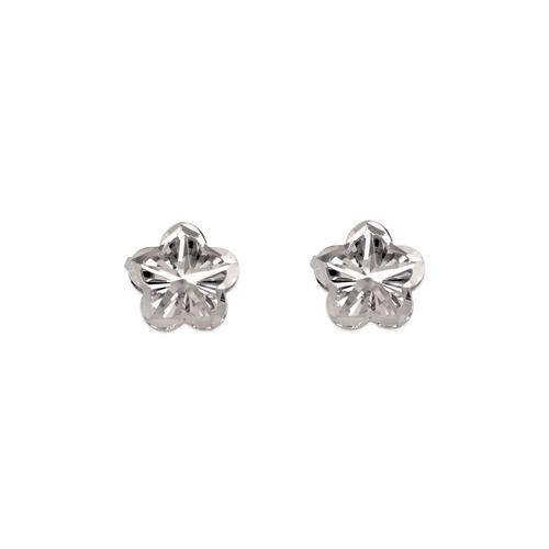 142-115W Diamond Cut Flower Stud Earrings