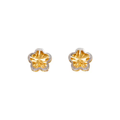 142-115Z Diamond Cut Flower Stud Earrings