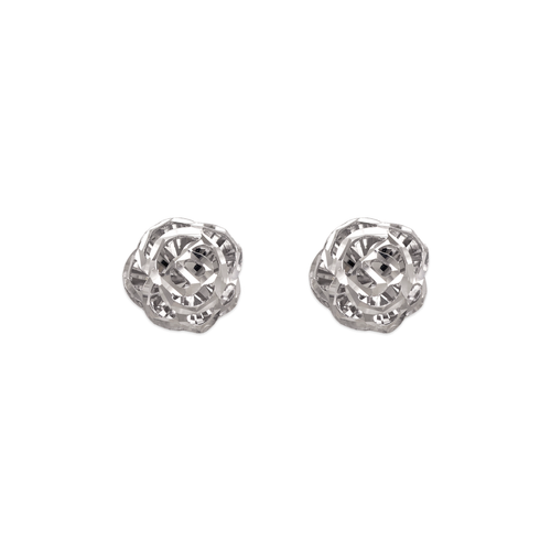 142-116W Diamond Cut Flower Stud Earrings