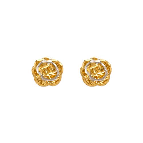 142-116Z Diamond Cut Flower Stud Earrings