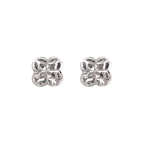 142-117W Diamond Cut Flower Stud Earrings