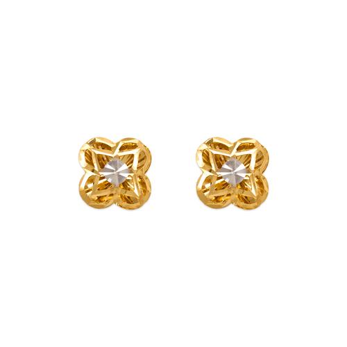 142-117Z Diamond Cut Flower Stud Earrings