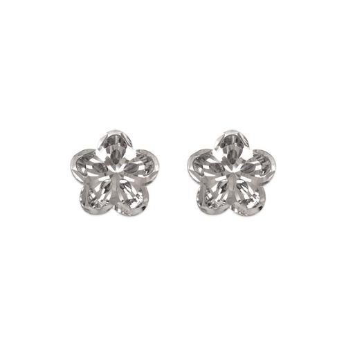 142-118W Diamond Cut Flower Stud Earrings