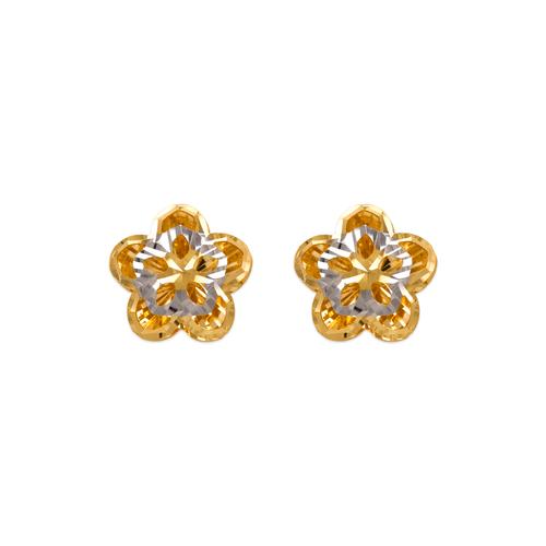 142-118Z Diamond Cut Flower Stud Earrings