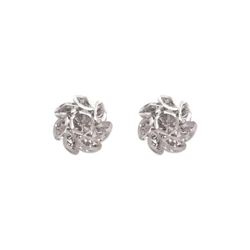 142-119W Small Diamond Cut Flower Stud Earrings