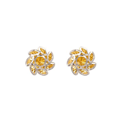 142-119Z Small Diamond Cut Flower Stud Earrings