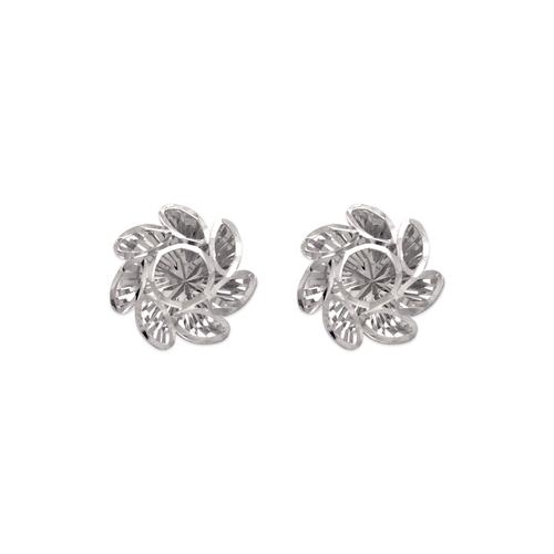 142-120W Medium Diamond Cut Flower Stud Earrings