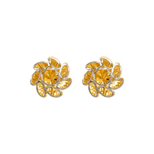 142-120Z Medium Diamond Cut Flower Stud Earrings