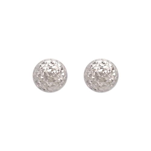 142-121W Diamond Cut Half Ball Stud Earrings
